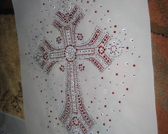 1/2 Off SALE Stunning Large Red n Clear & Iridescent Rhinestone Cross Heat Transfer