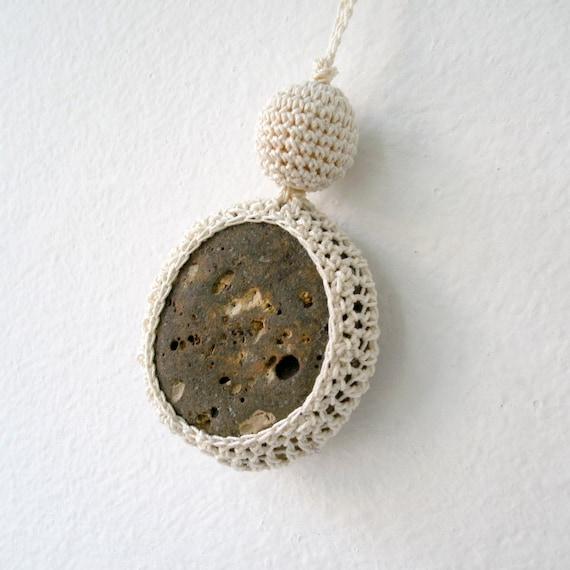 Stone Necklace - Crochet Jewelry - Lace Stone Necklace - Beach Stone ...
