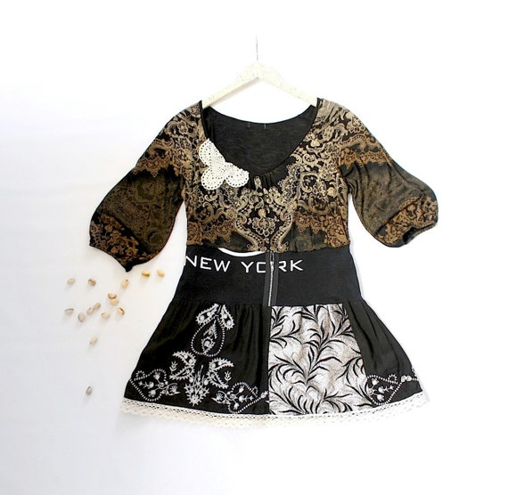Bohemian Black Top Tan Upcycled Shirt Hippie Clothing Cream Lace Eco Friendly Clothes Women's Wear Large 'JUNO'