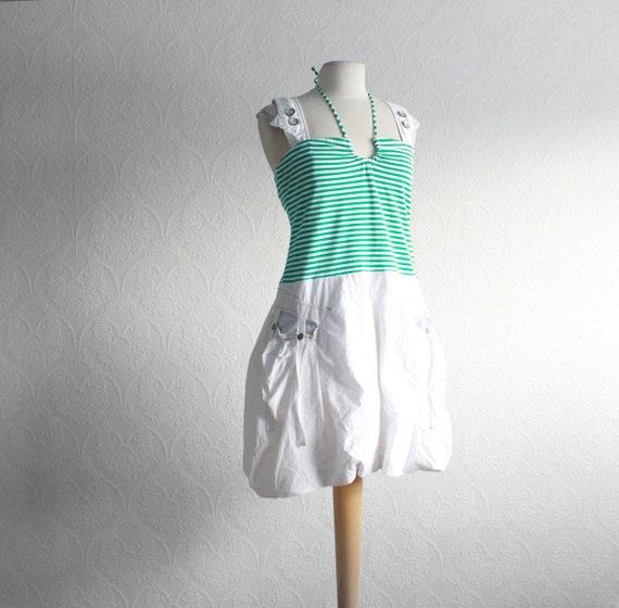 Women's White Dress Eco Fashion Kelly Green Sundress Bohemian Clothing Upcycled Clothes Bubble Skirt Large XLarge Cyber Monday Etsy