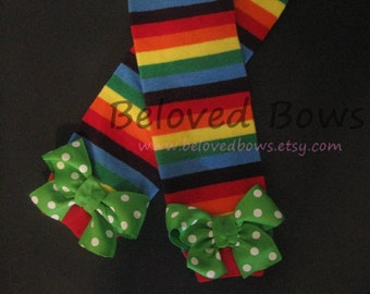 Rainbow striped Leg Warmers for St Patrick's Day for Baby Toddler Tween