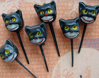 Vintage halloween Kitsch Black Cats1950s Cupcake picks