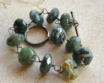 Moss Agate Bracelet, Chunky Green Bracelet, Boho Bracelet, Rustic Bracelet