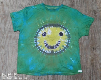 Yellow Smiley on Green Tie Dye T-Shirt (Puritan Size 3XL) (One of a Kind)