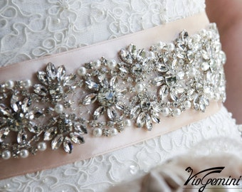 "Rose Gold Bridal sash 24"" Wedding sash Belt Blush Bridal Sash Belt Rhinestone Wedding Belt Crystal Bridal Belt"