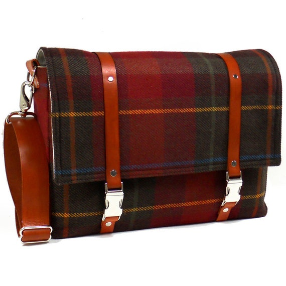 Large camera messenger bag with leather strap  - dark red plaid