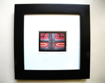 Framed Photography, Framed Wall Decor, Asian Decor, Slate Grey & Red Door Detail,Asian Art,Black Framed Print 10x10 Framed Art Ready to Hang