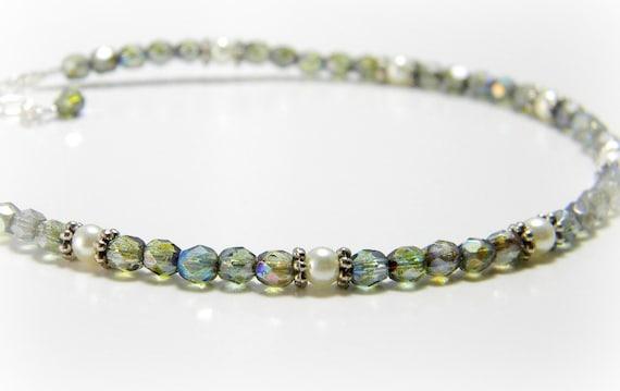 Czech Crystal Anklet Gray Green Iridescent Firepolished Czech Crystal Ankle Bracelet