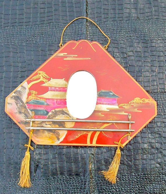 TAKE ON ME Vintage 40's Japanese Hand-Painted Boudior Mirror With Small Towel Rack