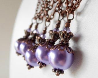 Purple Pearl Necklace Matching Bridesmaids Jewelry Antiqued Style Bridesmaid Necklaces Purple Wedding Jewelry with Swarovski Elements