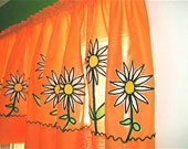 Vintage Curtains - 2 Flat Panels - Orange with White Daisies