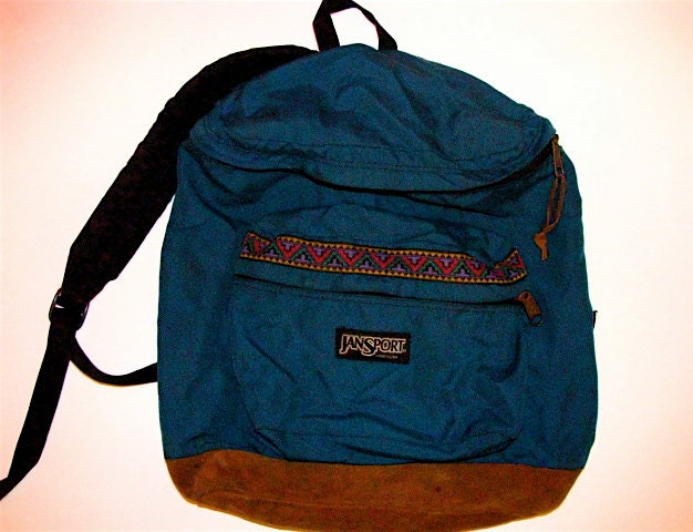 Vintage Jansport Backpack with Chevron and Suede Bottom