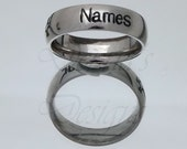 Engraved Mothers/Fathers/Couples/Purity/Name Ring - 6mm Bright Finish Stainless Steel