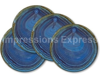 Blue Geode Stone Coasters - Set of 4