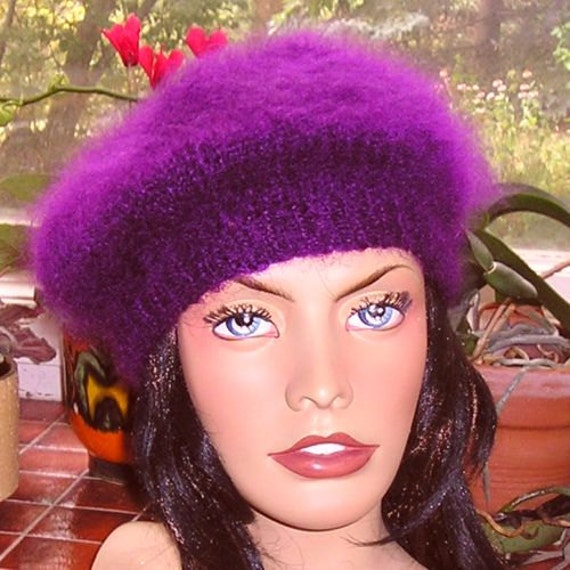 Custom Order for Eve----- Mohair Tam Beret Beanie Hat - in Purple - hand knitted by uniquemohair for Eve