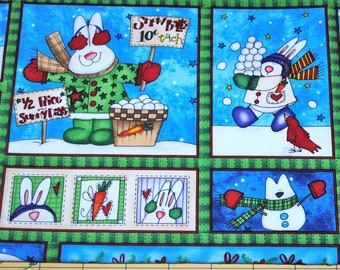 Fat Quarter Cute Snowbunny Patchwork Scene Fabric