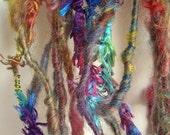 Handspun Art Yarn  Poquito Skein  ARTIST RAINBOW  7 Yds