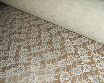 Bridal White allover lace fabric 3 yds           (D590)