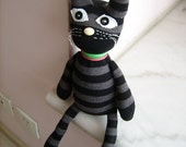 HANDMADE black SOCKS CAT Kitty  Young Ones Brithday  Gift