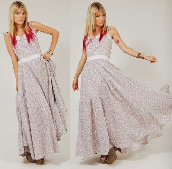 RESERVED for Almut Vintage 70s PRAIRIE Maxi Dress Lavender Ditsy Floral Long Boho S/M
