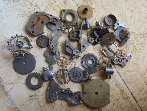 Vintage WATCH PARTS gears - Steampunk parts - w5 Listing is for all the watch parts seen in photos