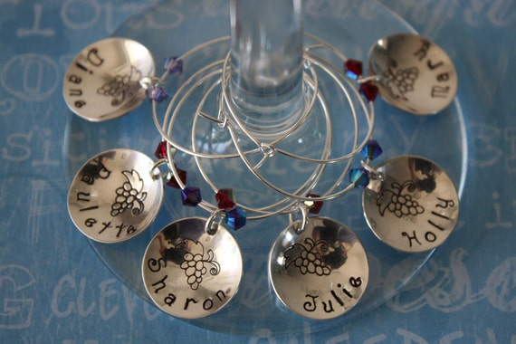 6 Personalized Wine Charms, Bridesmaid Gift, Wine Tasting, Sterling Silver Wine Charms