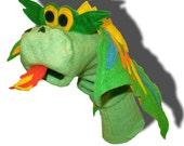 Handmade Green Dragon Couture Sock Puppet with Removable Fire