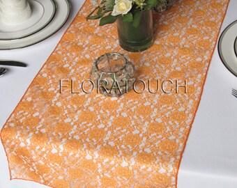 Orange Lace Table Runner Wedding Table Runner