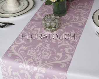 Traditions Lavender and White Damask Table Runner Wedding Table Runner
