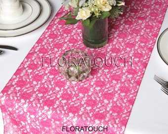Hot pink Lace Wedding Table Runner