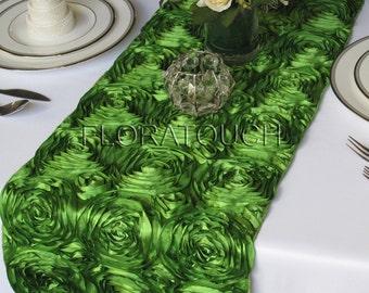 Green Satin Ribbon Rosette Wedding Table Runner