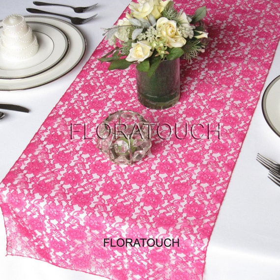 Lace Wedding Table Runner - Hot pink