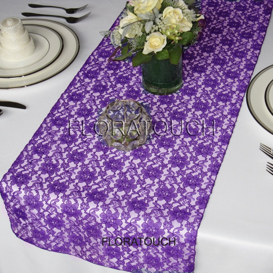 Purple Lace Table Runner Wedding Table Runner By Floratouch