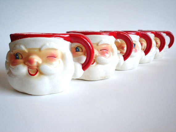 5 Vintage Holt Howard Winking Santa Claus Mugs
