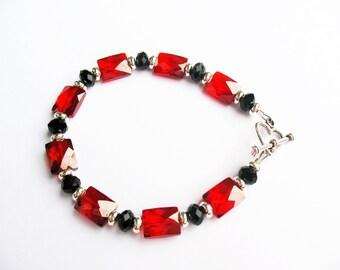 Gorgeous Red Bracelet, Red CZ Bracelet, Red Cubic Zirconia Bracelet, Red and Black Bracelet