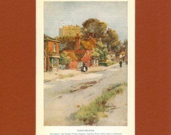 1926 Vintage Village Print Portchester Hampshire England