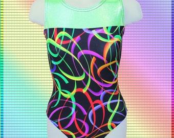 Gymnastics Girls Leotard Child size 4 6 8 10 12 lime Mystique black fuchsia purple orange ribbon swirls NEW Youth tank leo
