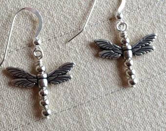 Sterling Silver Beaded Dragonfly Earrings with Pewter Wings Nature Bug Garden Flower