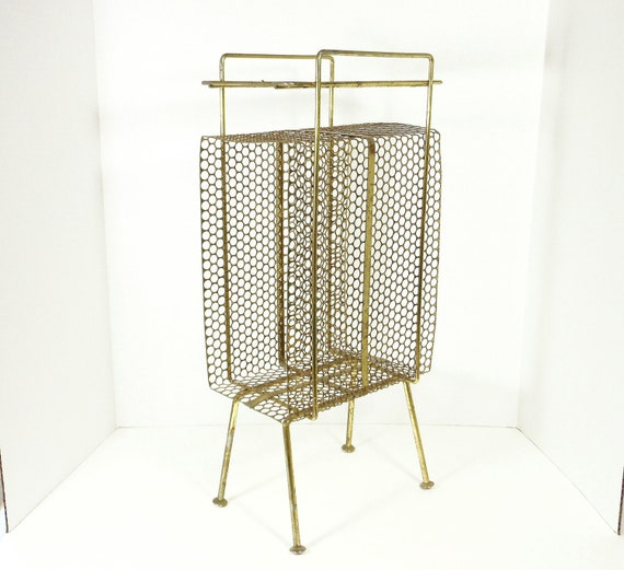 Vintage Atomic Telephone Stand Metal Mid Century Table Rack Goldtone PeachyChicBoutique on Etsy