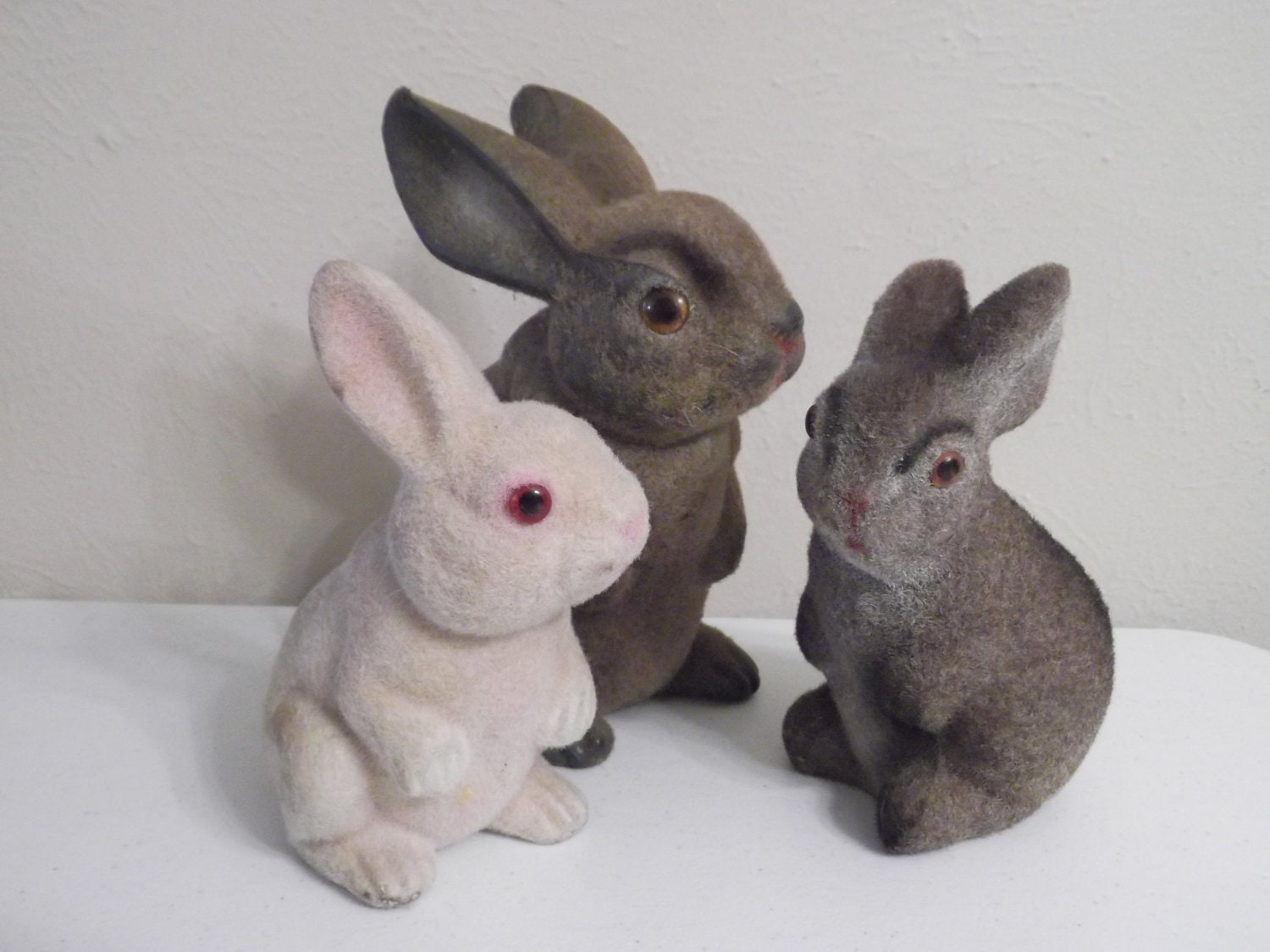 Toys For Bunnies : Vintage s flocked bunny rabbit toy lot of instant