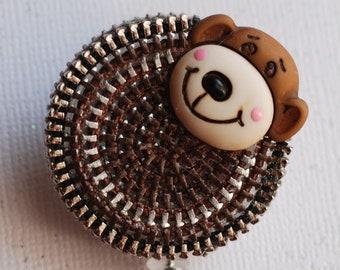 Let's Monkey Around Vintage Zipper ID Badge Reel