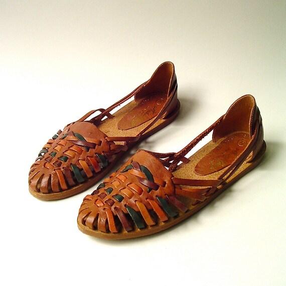 vintage Earth Tones Woven Leather Huarache Sandals