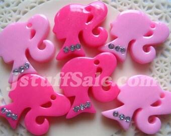 Pink Barbie ponytail girl 6 pcs mixed color (E02)
