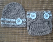 Baby Boy Grey and Blue Hat  Diaper Cover Set with Blue Stripes and Buttons, Newborn Boy Photo Prop, Custom Made to Order