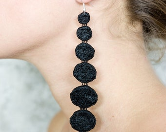 Lace earrings - DOTS - Black or ivory lace