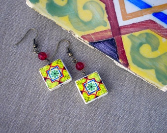 Porto Portugal Antique Tile Replica Earrings - Yellow, Red, Blue and Green - WATERPROOF and REVERSIBLE 309