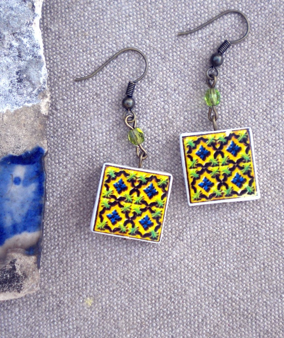 Portugal Tile Replica Earrings GREEN (see photo of actual Facade)  waterproof and reversible 314