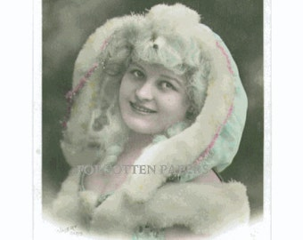 SALE - Lovely Pastel  French SNOW  BUNNY - Hand Tinted Real Photo Postcard of Blue Haired Girl