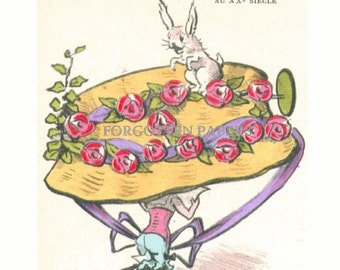 FRENCH FANTASY MILLINERY - Wonderful Whimsical Illustrated Postcard - Huge Hat with Roses and A Rabbit - Very Rare
