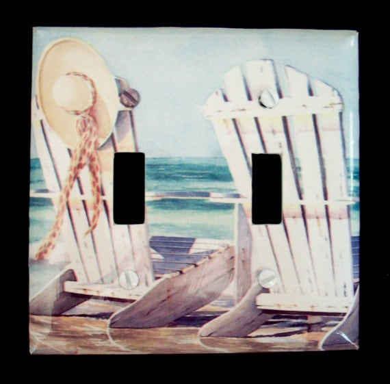 Double Light Switch Plate Cover Beach Chairs Ocean Sea Sand